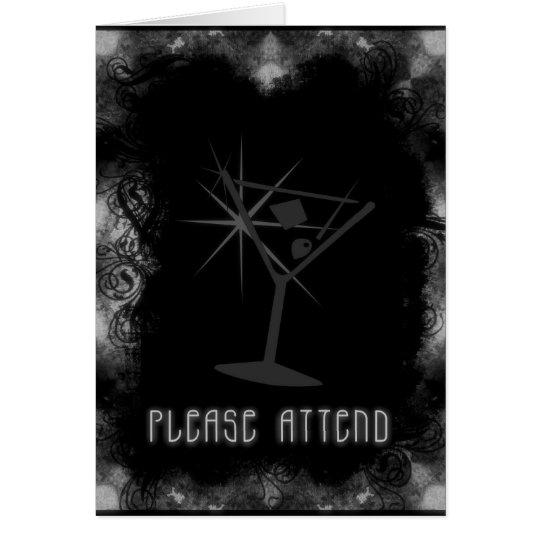 Grunge Martini Invite Please Attend Black & White