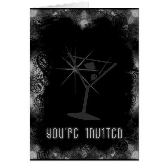 Grunge Martini You're Invited - Black & White Card