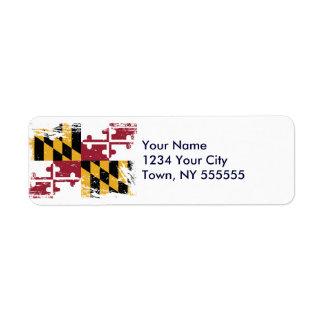 Grunge Maryland Flag Return Address Label