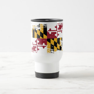 Grunge Maryland Flag Travel Mug