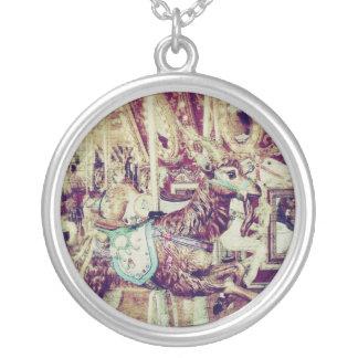 Grunge Merry-Go-Round Goat Round Pendant Necklace