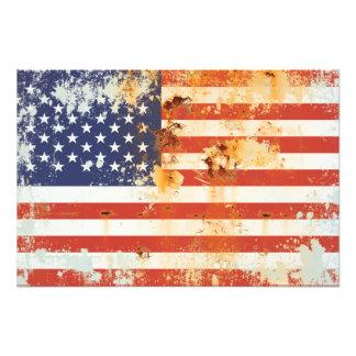 Grunge Metal American Flag 3 Photo Art