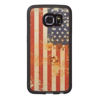 Grunge Metal American Flag 3 Wood Phone Case