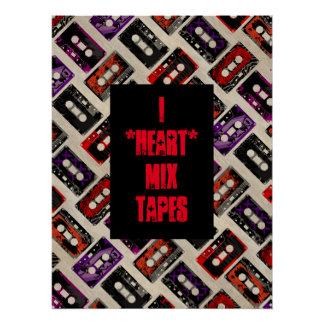Grunge Mix Tapes - Custom Text Art Poster