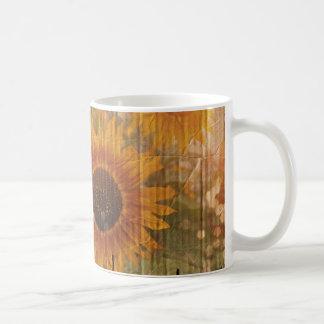 grunge modern country yellow Sunflower Classic White Coffee Mug