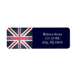 grunge modern London fashion UK British flag Return Address Label