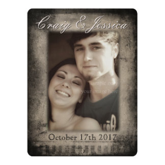 Grunge Monochrome Film Noir Style Photo Frame Card