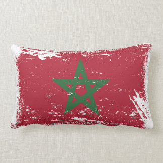Grunge Morocco Flag Lumbar Pillow