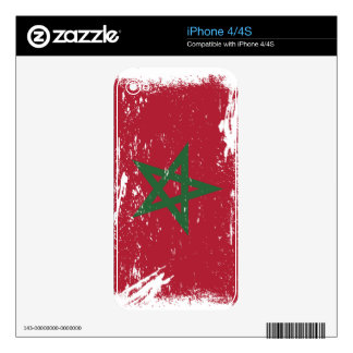 Grunge Morocco Flag Skin For The iPhone 4