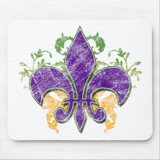 Grunge Mousepad de la flor de lis del carnaval Alfombrillas De Ratones