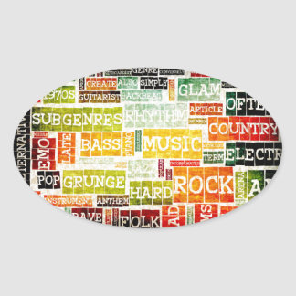 Grunge Music Background Oval Sticker