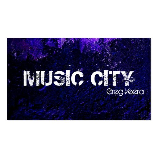 Grunge Music Business Card Blue Purple Texture
