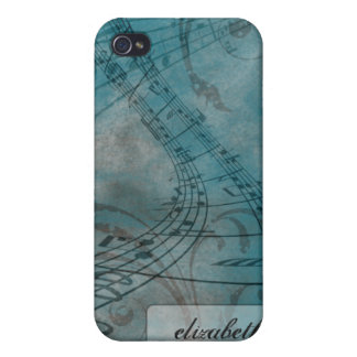 Grunge Music Notes iPhone 4/4s Case (blue)