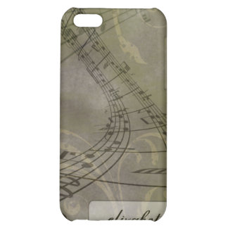 Grunge Music Notes iPhone 4/4s Case (olive)