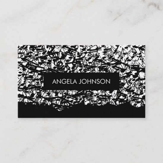Grunge music notes raining down business card