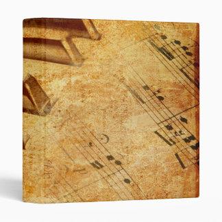 Grunge Music Sheet Piano Keys 3 Ring Binder