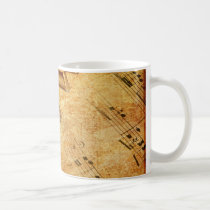 Grunge Music Sheet Piano Keys Coffee Mug