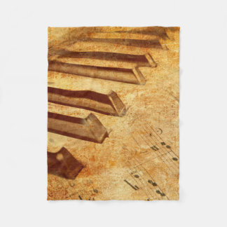 Grunge Music Sheet Piano Keys Fleece Blanket