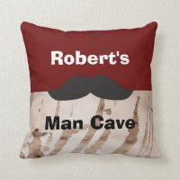 Grunge Mustache Man Cave Pillow