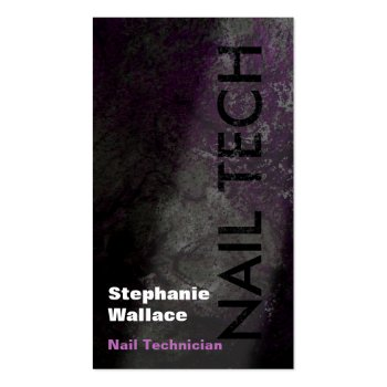 Grunge Nail Technician Business Card Black Pink