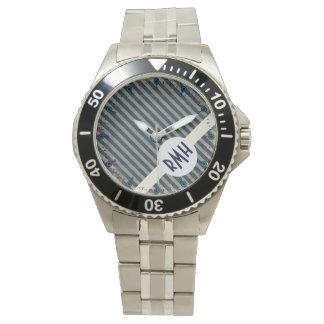 Grunge Navy Stripes Monogram Stainless Steel Watch
