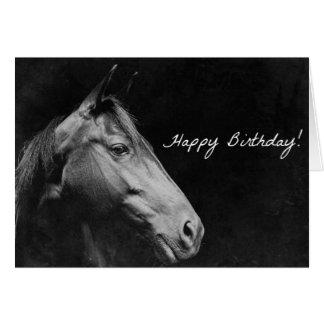 Grunge negro del cumpleaños del caballo tarjetas