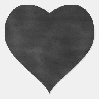 GRUNGE NEGRO T de la TEXTURA del TABLERO de TIZA Pegatina En Forma De Corazón