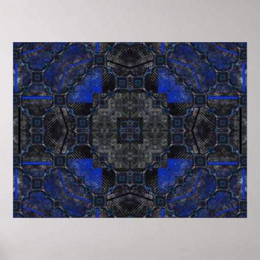 Grunge negro y azul Utopía Poster