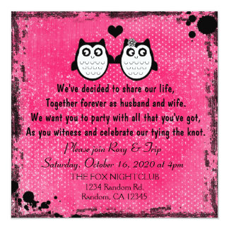 Grunge neon pink owl couple wedding invitations