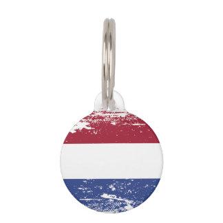 Grunge Netherlands Flag Pet ID Tag