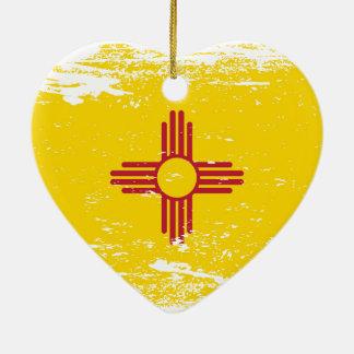 Grunge New Mexico Flag Ceramic Ornament