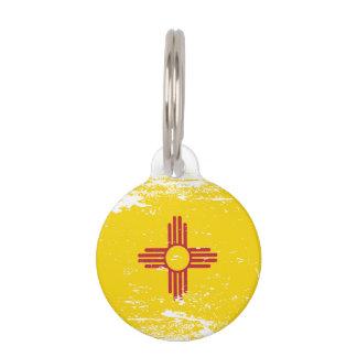 Grunge New Mexico Flag Pet Name Tag