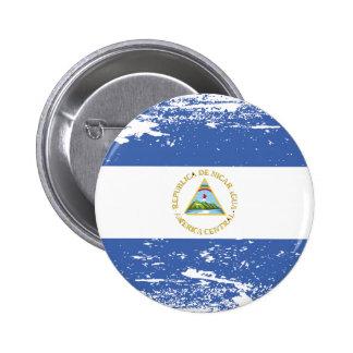 Grunge Nicaragua Flag Pinback Button
