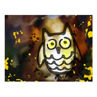 Grunge Night Owl Painting Postcard