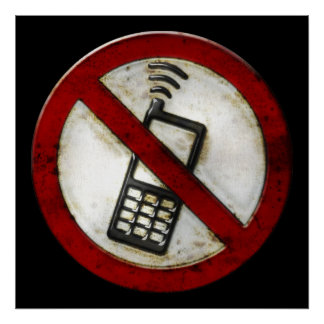 Grunge 'NO PHONE ZONE' Sign - eerie poster