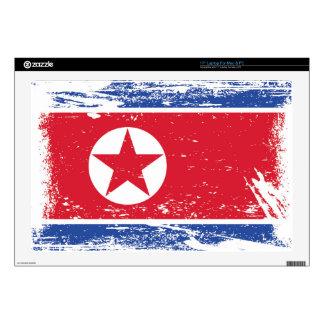 "Grunge North Korea Flag Decal For 17"" Laptop"