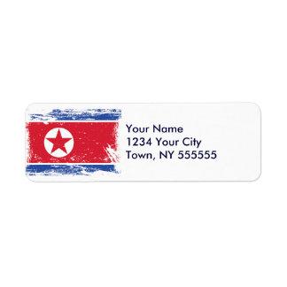 Grunge North Korea Flag Label