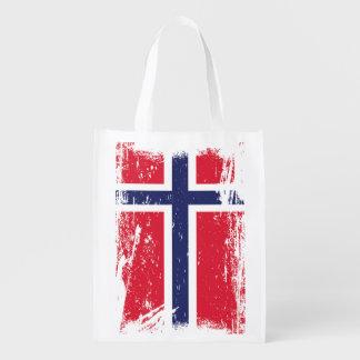 Grunge Norway Flag Grocery Bag