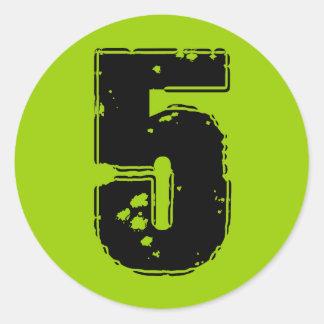 GRUNGE NUMBER 5 CLASSIC ROUND STICKER