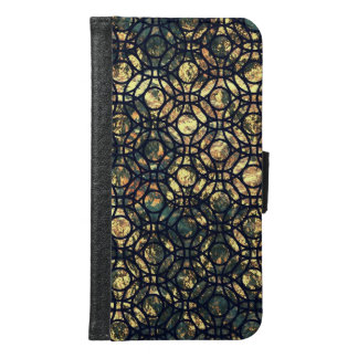 Grunge Oil and Water Olive Marbled Metallic Foil Wallet Phone Case For Samsung Galaxy S6