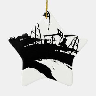 Grunge Oil Pump Ceramic Ornament