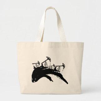 Grunge Oil Pump Large Tote Bag