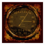 Grunge Old-style Speedometer Auto Art Poster