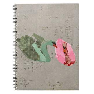 Grunge Olive & Blush Swans Notebook