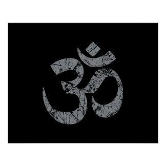 Grunge OM Symbol Spirituality Yoga Poster
