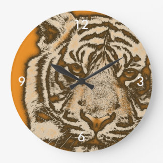 Grunge Orange Abstract Tiger Large Clock