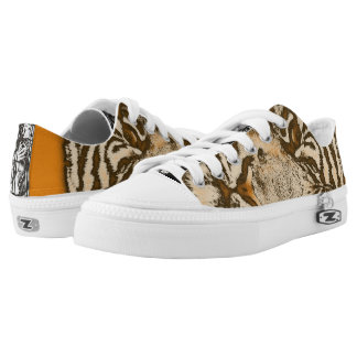 Grunge Orange Abstract Tiger Low-Top Sneakers