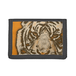Grunge Orange Abstract Tiger Tri-fold Wallet