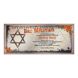 Grunge Orange, Black, Grey Bar Mitzvah Invitation