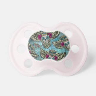 Grunge Owls with sugar skulls BooginHead Pacifier
